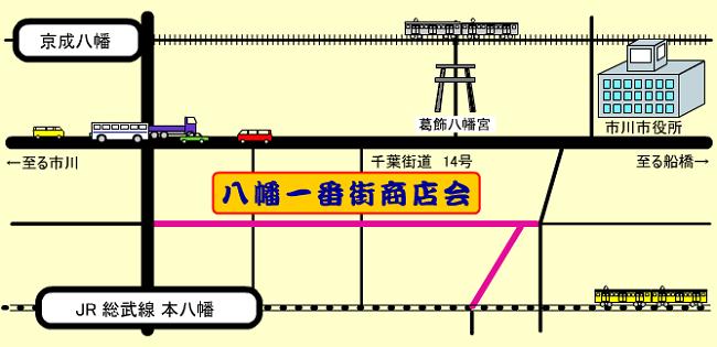 八幡一番街商店会アクセスマップ