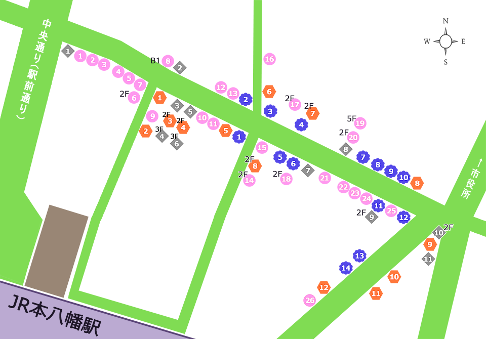 八幡一番街商店街マップ(総合)