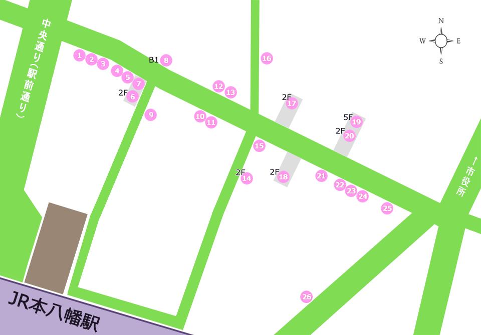 八幡一番街商店街マップ(呑み処)